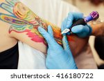 master tattoo artist with a... | Shutterstock . vector #416180722