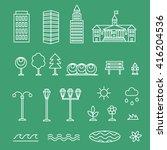 vector linear landscape icons ... | Shutterstock .eps vector #416204536
