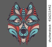 patterned colored head of the... | Shutterstock .eps vector #416211442