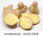 cut ginger on white | Shutterstock . vector #416213506