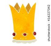 freehand retro cartoon crown | Shutterstock .eps vector #416227342