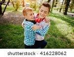 two brother boy with headphones ... | Shutterstock . vector #416228062