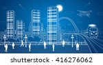 city panorama  office buildings ... | Shutterstock .eps vector #416276062