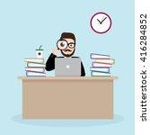 hipster businessman looking... | Shutterstock .eps vector #416284852
