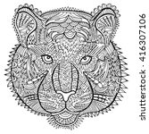tiger head zentangle artwork.... | Shutterstock .eps vector #416307106