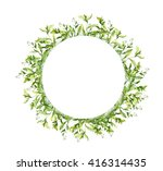 wreath border frame with spring ... | Shutterstock . vector #416314435
