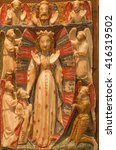 Small photo of AVILA, SPAIN, APRIL - 18, 2016: The alabastrine relief of Virgin Mary in Catedral de Cristo Salvador by unknown artist of 16. cent.