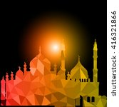 vector polygonal crystal mosque | Shutterstock .eps vector #416321866