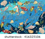 life under water line art... | Shutterstock .eps vector #416325106
