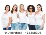 Small photo of diverse, healthcare and people concept - group of happy different size women in white t-shirts with pink breast cancer awareness ribbon