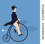 vintage man riding a retro bike | Shutterstock .eps vector #416388412