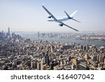 Airplane Flying Over  New York...
