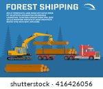 shipping timber. loading felled ...   Shutterstock .eps vector #416426056