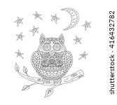 illustration with owl drawings | Shutterstock .eps vector #416432782