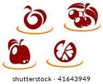 fresh fruit symbols for design... | Shutterstock .eps vector #41643949