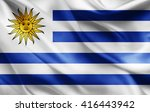 uruguay flag of silk  | Shutterstock . vector #416443942