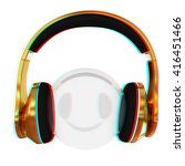 gold headphones icon on a white ... | Shutterstock . vector #416451466