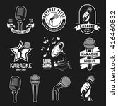 set of karaoke related vintage... | Shutterstock .eps vector #416460832