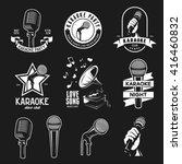 set of karaoke related vintage... | Shutterstock .eps vector #416460832