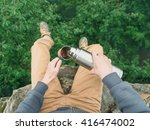 traveler young man sitting on...   Shutterstock . vector #416474002