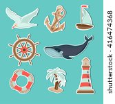 marine set. illustration on the ... | Shutterstock .eps vector #416474368