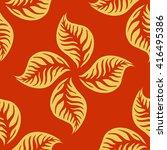 golden leaves on red seamless... | Shutterstock .eps vector #416495386