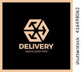 delivery box three arrow logo.... | Shutterstock .eps vector #416498062