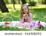 happy girl relaxing in park | Shutterstock . vector #416508292