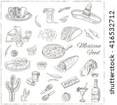 vector hand drawn set of... | Shutterstock .eps vector #416532712