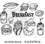 breakfast time  sketch  hand... | Shutterstock .eps vector #416569816