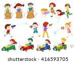 children doing different... | Shutterstock .eps vector #416593705