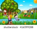 children playing and camping... | Shutterstock .eps vector #416599288