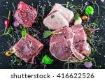 Постер, плакат: Steak Beef steak Meat Portioned meat Raw fresh