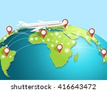 travelling by airplane around... | Shutterstock .eps vector #416643472
