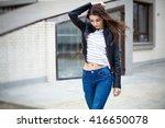 fashion beautiful brunette... | Shutterstock . vector #416650078