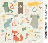 zoo alphabet with cute animals... | Shutterstock .eps vector #416654968