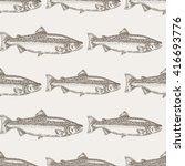 hand drawn salmon fish seamless ... | Shutterstock . vector #416693776