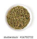 Bowl Of Dried Oregano Leaves...