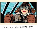 girl retro pilot on the plane | Shutterstock .eps vector #416721976