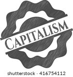capitalism drawn with pencil... | Shutterstock .eps vector #416754112