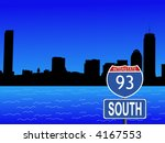 Boston skyline and interstate sign illustration