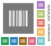 barcode flat icon set on color...