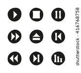 media player black flat icons...