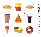 fast food colorful flat design... | Shutterstock .eps vector #416778718