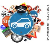 vector blue road sign with car... | Shutterstock .eps vector #416791576