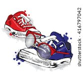 hipster sneakers with glasses... | Shutterstock .eps vector #416797042