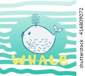 whale are cute. awesome whale... | Shutterstock .eps vector #416809072