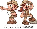 boy and girl in safari outfits. ... | Shutterstock .eps vector #416820382