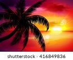 summer. sunset landscape.... | Shutterstock .eps vector #416849836