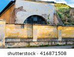 old damaged yellow plastered... | Shutterstock . vector #416871508